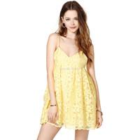 Hot sale summer dress 2014 lemon yellow lace laciness spaghetti strap party dresses fashion cute V-neck print women casual dress