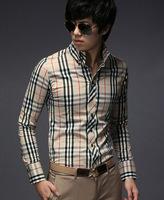 2014 Mens Plaid Shirts Casual Slim Fit Stylish Long Sleeved Dress Shirts
