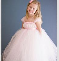 New Blush Light Pink Flower Girl Dresses Princess Girl Tutu Dresses For Wedding Party Birthday Photo grap vestido de daminha