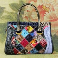 New Fashion Women Genuine Leather Bags Snake Pattern Colorful Patchwork Lady's Shoulder Handbag Women Messenger Bag Tote 498