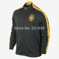 Thai Quality World Cup Brazil National Team 14-15 Sport N98 Jackets Football Winter Coats Trainning Fleece Suits