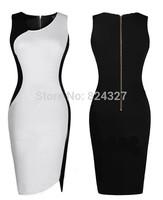 Wholesale New Fashion Patchwork V-neck Sleeveless Pencil Party Evening Women Dresses Size S M L XL XXL