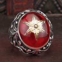 US Size 8-13 Man Punk Rings Vintage 316L Stainless Steel gold five star Red Ring With Stone Fashion Jewelry free Shipping BR8392