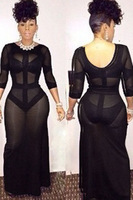 Free shipping Black Sheer Maxi Club Dress with Shadow Sexy Clubwear Wholesale 10pc/lot  2014 Newest cheap  Party Dress 6608