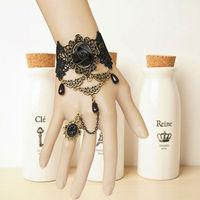 10 Pieces/Lot Handmade Flower Rose Beads Drop Lace Bronze Adjustable Ring Bracelet Set Gothic Retro Fashion Jewelry Women 2014