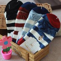 2014 New Arrival Women's  Socks Classic Stripe Navy Style Long Socks Female Casual Cotton Socks