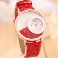 2014 new fashion MXREy Quicksand dial Wristwatches women dress watch leather quartz rhinestone watches ladies wristwatches