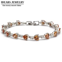 IDEARS Free shipping.18K Gold Plated Star Fashion crystal bracelets flower with Multicolor Zircon For Women Luxury IDZB0007