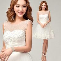 Fashion New Pearl White Lace Short wedding dress 2014 Elegant wedding dresses Sexy vestido de noiva romantic bridal gown W54