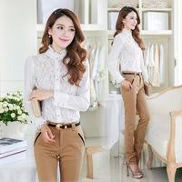 Free Shipping 2014 Autumn Women's 1396 White Top Blouses Shirts