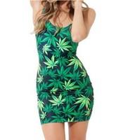 Hot sale fashion 3D print digital green leaf  Women dress new Vest tops summer GALAXY Woah Dude lady Dresses free shipping