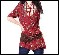 Wholsale 2014 Autumn Women's vintage print stand collar blouse shirt