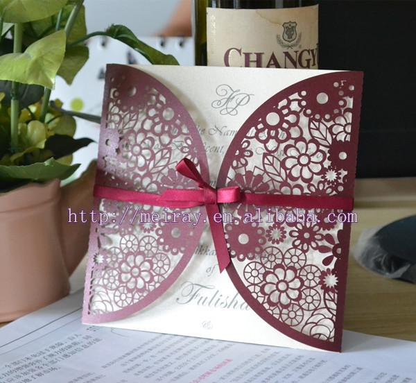 170 pçs/lote vinho tinto convites de casamento! Girassol papel de corte a laser convites de casamento cartão de em cores diferentes(China (Mainland))
