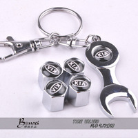 Free shipping Car Wheel Tire Valve Caps with Mini Wrench & Keychain for Kia (4-Piece/Pack)