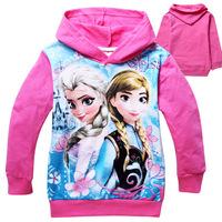 2014 frozen girls hoodies long sleeve frozen princess children sweatshirts, outerwear jacket coat