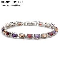 IDEARS Free shipping.18K Gold Plated Star Fashion crystal bracelets flower with Multicolor Zircon For Women Luxury IDZB0006