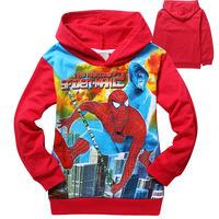 Newest Spring Autumn Boys Spiderman hoodies Kids Long Sleeve T-shirt Baby/kids Hooded Jacket Sweatshirts 6pcs/lot