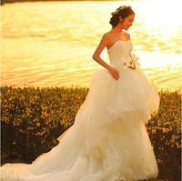 Fashion New Diamond Flower Sexy Strapless Plus Size wedding dress 2014 Lace White mermaid wedding dresses vestido de noiva W55