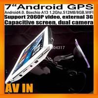 "Car GPS Navigation Android4.0 7"" Capcitive Screen AV IN Dual Camera Super Slim 512MB/8GB BoxchipA13 WIFI 2060P Video External 3G"