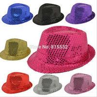 20pcs/Lot Wholesale BlingBling Children Child Fedora Trilby Hat Boys Girls Unisex Sequins Solid Color MJ Jazz Dance Party Hats