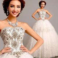 Fashion Sexy bride dress Luxury Diamond Lace wedding dress Floor length Prince White vestido de noiva wedding dresses gown W56