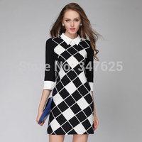 women's casual winter dresses above knee three quarter sleeve patchwork dress sexy peter pan collar silm new 2014 dresses 4XL