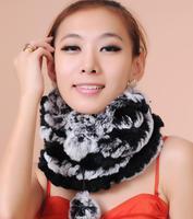 2014 new winter grass hat knit hat Rex Rabbit Fur Scarf Rex dual female collars