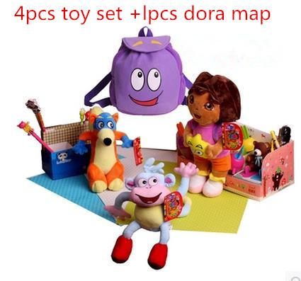 conjunto 4pcs/toy + 1 pcs dora dora the explorer mapa boneca brinquedo para meninas crianças botas o macaco de pelúcia raposa swiper dora crianças mochila(China (Mainland))