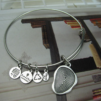Alex and Ani style fingerprint design Silver Plated Alloy Charm Bracelets and Bangles for girls Free Shipping