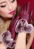 Sheep leather gloves, leather gloves short paragraph Korean ladies fashion rex rabbit fur autumn and winter warm leather gloves