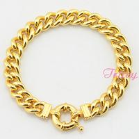 10mm Huge Chunky Gold Bracelet For Mens Womens 18K Yellow Gold Filled Curb Bracelet Link Sailor Chain