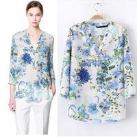 2014 European women retro flower print color V neckcollar long-sleeved cotton shirt female casual blouse Slim blusas femininas