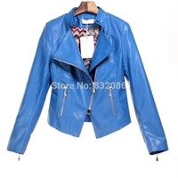Free shipping large Size S-XXL 2014 autumn new women's fashion brand super quality washed PU leather motorbike jacket WLJ14002