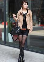 2014 Single breasted stand collar women fashion wool coat short winter jackets solid color Black Orange Khaki M L XL