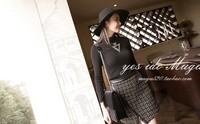 New 2014 Autumn Korean Fashion Cotton Skirts womens skirt High Waist Woolen Plaid High Quality Short Skirts Free Shipping 6550