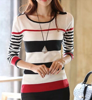 Women Pullovers 2014 Autumn New Striped Sweaters Women's Long-Sleeve Tops Slim Casual Bottoming Shirt T shirt SW-206