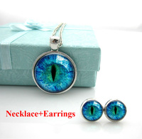 Free Shipping Cat Eye Necklace evil eye Pendant. Charms Art Picture. Photo. Blue and Black. Dragon eye necklace Handmade Jewelry