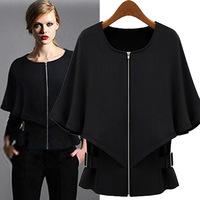 Women coat jacket 2014 new autumn black khaki linen shawl cool zipper Fashion thin bat coat BM-078