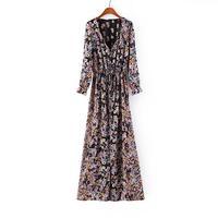 2014 Summer Chiffon Women Long Dress New Arrival Printed High Waist Bohimian Vestidos
