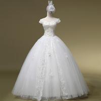 2014 Limited Fashionable Vestido De Noiva Princess Bride Slit Neckline Wedding Qi Formal Dress Customize Plus Size Gownbridalk