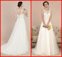 Custom Made New Design 2014 Sexy Backless Long Lace A Line China Made Girls Short Sleeve Formal Wedding Bridal Dress Gowns