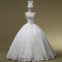 2014 Hot Sale Romantic Vestidos De Noiva Luxury Rhinestone Tube Top Bandage Wedding Dress The Bride Married Princess Gownbridalk