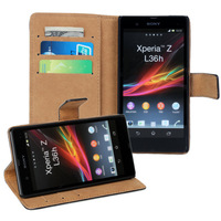 For  Sony Xperia Z L36h Flip Genuine Leather Wallet Style Credit Card holder Stand Case Cover, Drop 11 Colors