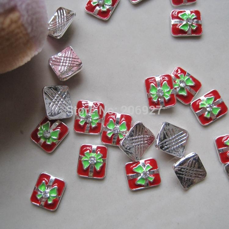 MD-451 5pcs Fancy Rhinestone Christmas Silver Gift Deco Metal Charms Metal Deco Charms Nail Art(China (Mainland))