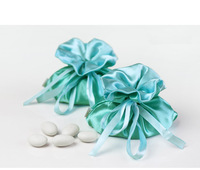 Wholesale Little pudding light green blue satin wedding candy bag  wedding accessories green theme party favors jewelry bag