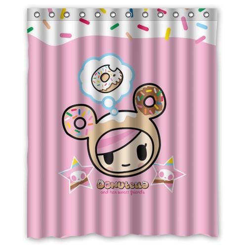 Cortina Baño Elegante:Elegante magic card Tokidoki patrón estilo rosa cortina de ducha 60 x
