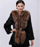 Free shipping Women's Fashion Rabbit Fur Coat with big  raccoon Fur Collar Outwear Lady Garment Plus Size S-8XL