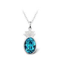 Pineapple Design Austrian Blue Crystal Pendant Necklace 18KGP White Gold Plated Women's Charm Jewelry Free Shipping (CN076)