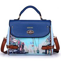 Vintage Fashion British women messenger bag designer printing womens handbags retro shoulder bags wholesale
