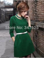 women's casual winter dresses above knee three quarter sleeve solid dress o-neck collar silm new 2014 dresses 4XL